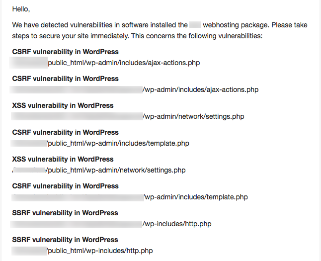 A list of potential WordPress vulnerabilities