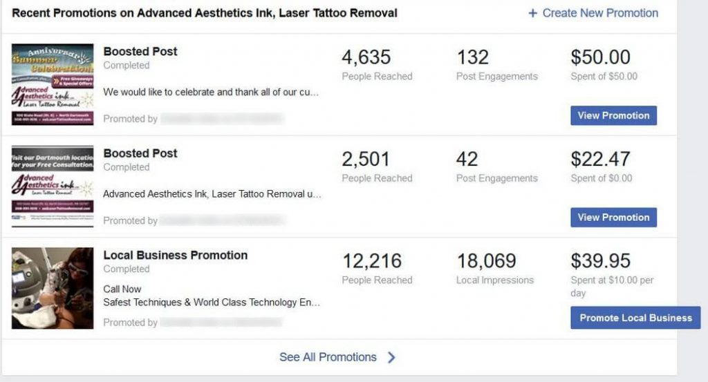 This graphic shows the number of people reached by 3 Facebook promotions