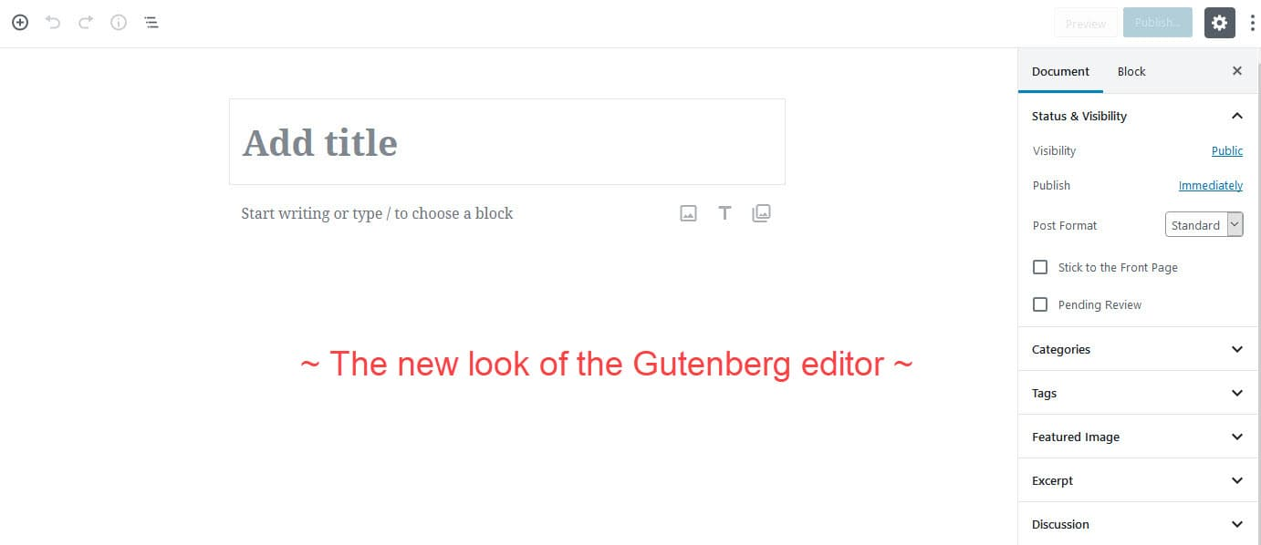 Screenshot of the Gutenberg Editor