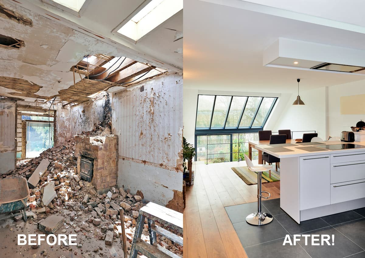 picture of a before and after interior remodel