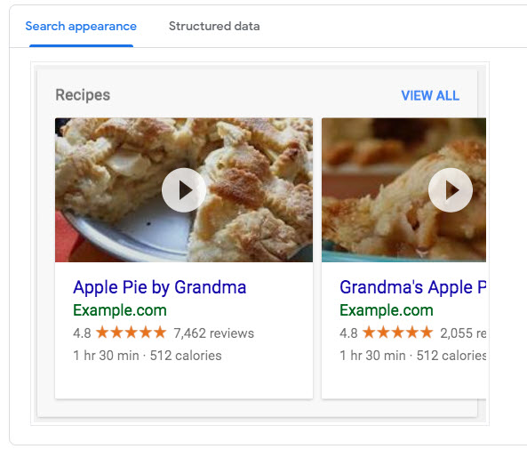 recipe schema example from google