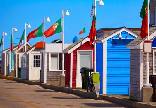 Gaily colored buildings in Provincetown