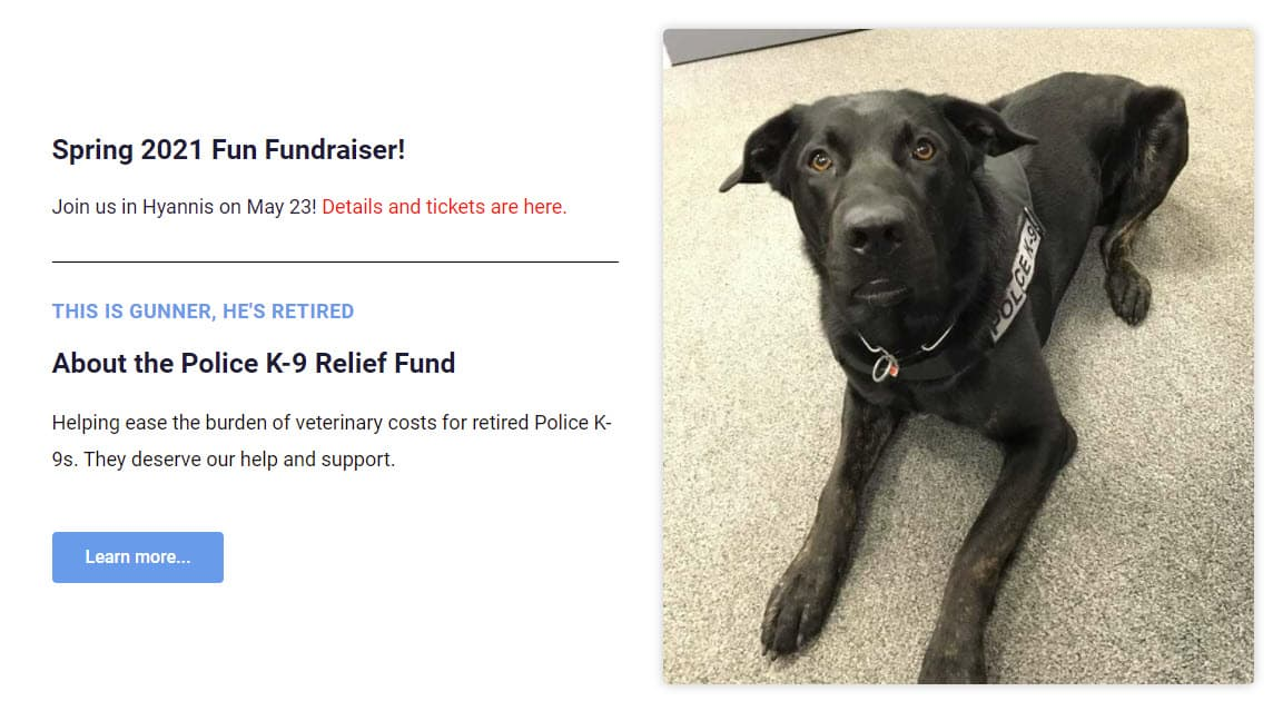 a screenshot of the cape cod and islands k9 relief fund home page