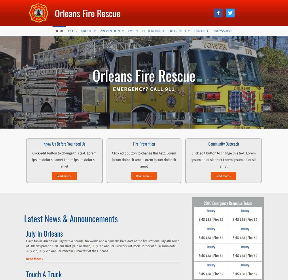 new home page of orleans fire department website