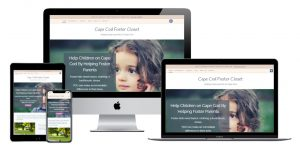 Image shows how Cape Cod Foster Closet website is displayed on smaller devices